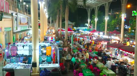 food court : PATONG, THAILAND - MAY 1, 2019: The crowded food court of Banzaan Night Bazaar with many small cafes and stalls, offering tasty Thai dishes and refreshing drinks, on May 1 in Patong