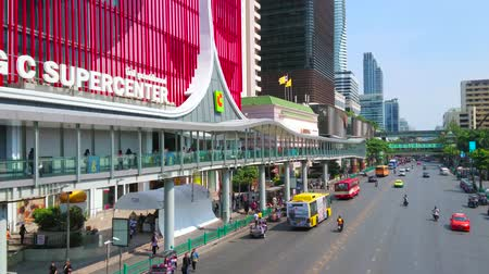 pathum wan : BANGKOK, THAILAND - APRIL 24, 2019: Modern shopping district with a view on busy Ratchadamri Road, lined with supermarkets, malls and business centers of Pathum Wan, on April 24 in Bangkok
