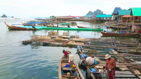 siamês : KO PANYI, THAILAND - APRIL 28, 2019: The old kayaks and fish farms at the shore of stilt Muslim village of Ko Panyi (Koh Panyee), located in Phang Nga province, on April 28 in Ko Panyi Stock Footage