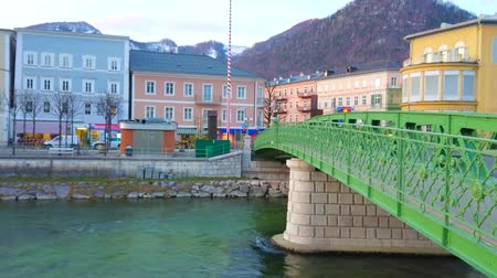 avusturya : BAD ISCHL, AUSTRIA - FEBRUARY 25, 2019: Historical green lacelike Elizabethbrucke bridge over the Traun river, located in the center of old town, on February 25 in Bad Ischl