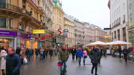 muzeum : VIENNA, AUSTRIA - MARCH 2, 2019: The Graben street is busy and crowded even on rainy weather, tourists observe local architecture, visit stores and restaurants, on March 2 in Vienna
