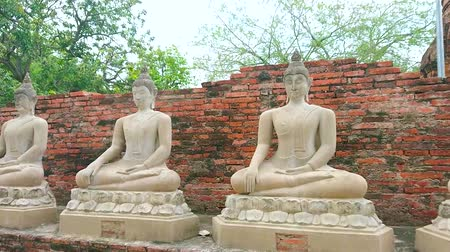 witness : Walk along the line of statues of Sitting Buddha in gesture of Earth the Witness on grounds of ancient Wat Yai Chai Mongkhon Temple, Ayutthaya, Thailand