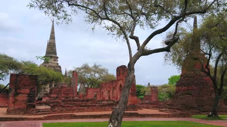 Аюттхая : Walk in park of Wat Phra Si Sanphet - archaeological site of the Buddhist Temple on territory of ancient royal palace with preserved chedis and buildings foundations, Ayutthaya, Thailand Стоковые видеозаписи