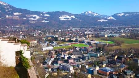 panské sídlo : Salzburg Castle, located on top of Festungsberg hill, is the perfect viewpoint, overlooking old town, citys living districts, Alpine valley and snowy mountains on background, Austria