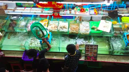 market vendor : PATONG, THAILAND - MAY 1, 2019: The top view on counter of fresh fish and seafood store with live aquarium fish, seafood, mussels and oysters on ice, Banzaan Fresh Market, on May 1 in Patong Stock Footage