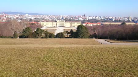 hejno : VIENNA, AUSTRIA - FEBRUARY 19, 2019: Walk  Schonbrunn hill and observe the Baroque style palace, its ornamental garden and Vienna urban districts on background, on February 19 in Vienna Dostupné videozáznamy