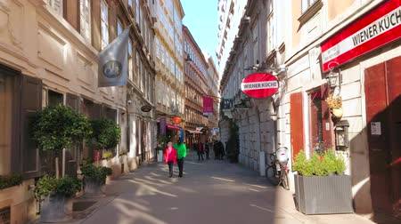 テラス : VIENNA, AUSTRIA - FEBRUARY 19, 2019: The narrow alley adjacent to the Graben street with many small cafes, cozy bars, boutiques and art galleries, on February 19 in Vienna. 動画素材