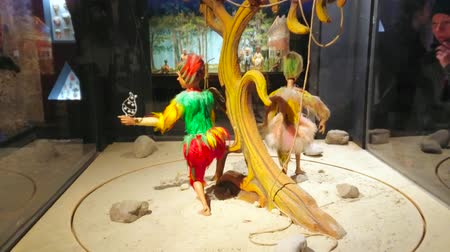 долл : SALZBURG, AUSTRIA - FEBRUARY 27, 2019: The vintage puppets, exhibited in Marionette museum, located in Prince cellars of Hohensalzburg castle, on February 27 in Salzburg