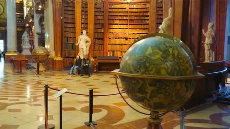 historical : VIENNA, AUSTRIA - MARCH 2, 2019: The large historical globe in Prunksaal of National Library located on the perimeter of the Hall, on March 2 in Vienna