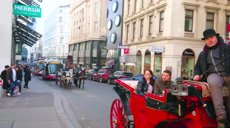semt : VIENNA, AUSTRIA - FEBRUARY 18, 2019: The horse drawn carriages are popular tourist transport in old town, riding slow among the main landmarks through the crowded streets, on February 18 in Vienna. Stok Video