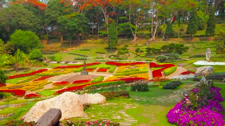 podróż : CHIANG RAI, THAILAND - MAY 9, 2019: Mae Fah Luang garden boasts amazing flower beds, covering with colorful carpet the mountain slope, Doi Tung, on May 9 in Chiang Rai