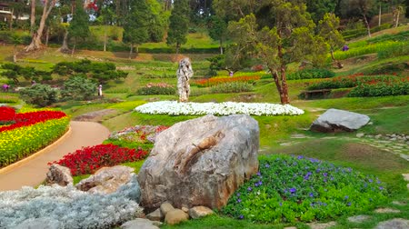 falu : CHIANG RAI, THAILAND - MAY 9, 2019: Panorama of amazing Mae Fah Luang garden from the hill, covered with colorful flower beds and topiary plants, Doi Tung, on May 9 in Chiang Rai