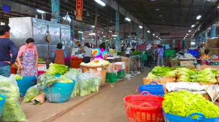 földműves : BANGKOK, THAILAND - APRIL 23, 2019: Covered alley of Wang Burapha Phirom agricultural market with stalls, offering various salad greens, herbs and differen tcabbage species, on April 23 in Bangkok