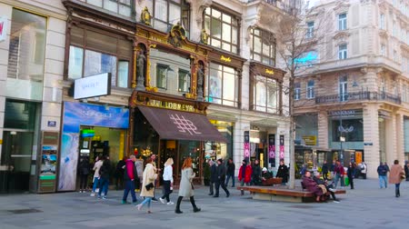 negozi : VIENNA, AUSTRIA - FEBRUARY 18, 2019: Karntnerstrasse boasts preserved vintage exteriors of stores with gilt, wooden carvings, sculptures and scenic inscriptions, on February 18 in Vienna.