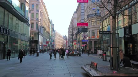turisták : VIENNA, AUSTRIA - FEBRUARY 18, 2019: Karntner Strasse is one of the most notable shopping streets in old town with variety of boutiques and restaurants, on February 18 in Vienna.