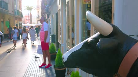bazilika : CADIZ, SPAIN - SEPTEMBER 19, 2019: The sculpture of the cow stands at the entrance to the shop, observing the activity in the narrow shopping Paloma street, on September 19 in Cadiz Stok Video