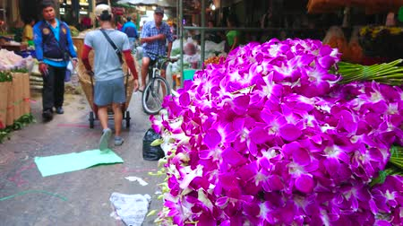 composição : BANGKOK, THAILAND - APRIL 23, 2019: The view on busy alleyway of Pak Khlong Talat flower market with a large heap of orchids on the forefround, on April 23 in Bangkok