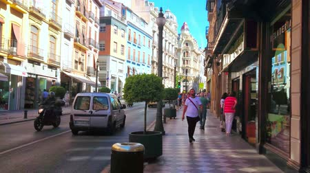 bairro : GRANADA, SPAIN - SEPTEMBER 25, 2019: The vibrant life in busy shopping Calle Reyes Catoicos street with luxury edifices, fast traffic, many fashion stores and cafes, on September 25 in Granada Stock Footage