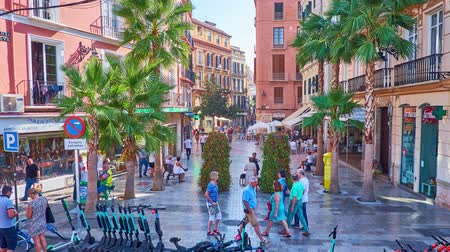 рекламный : MALAGA, SPAIN - SEPTEMBER 26, 2019: Time lapse of historical Calle Puerta Nueva street with palm trees, tourist cafes, stores, souvenir shops and fashion boutiques, on September 26 in Malaga