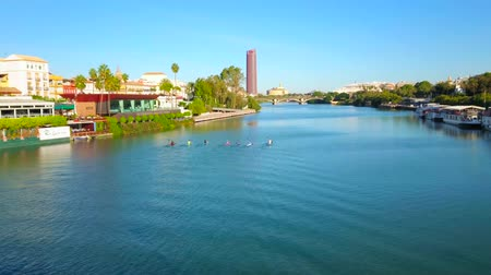 паром : SEVILLE, SPAIN - OCTOBER 2, 2019: Canoeing training on azure Guadalquivir river with a view on lush greenery of Triana district and Torre Sevilla (Sevilla Tower) skyscraper, on October 2 in Seville Стоковые видеозаписи