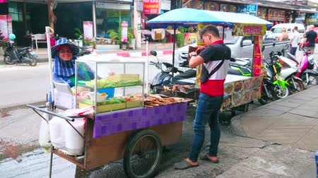 semt : PATONG, THAILAND - APRIL 30, 2019: The street seller at the food cart with grilled fish and chicken on skewers, on April 30 in Patong Stok Video