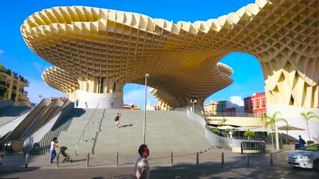 incarnation : SEVILLE, SPAIN - OCTOBER 1, 2019: The modern wooden construction of Metropol Parasol (Incarnation Mushrooms), located in Plaza de la Encarnacion, on October 1 in Seville