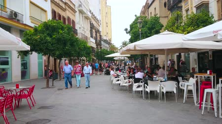 prodejce : JEREZ, SPAIN - SEPTEMBER 20, 2019: The green walking alley in Calle Lanceria street with lines of orange trees, outdoor cafes and scenic buildings, on September 20 in Jerez Dostupné videozáznamy