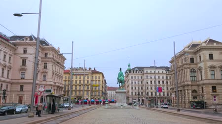 panské sídlo : VIENNA, AUSTRIA - MARCH 2, 2019: The Schwarzenberg Square is famous for equestrian monument and monumental modest edifices, on March 2 in Vienna