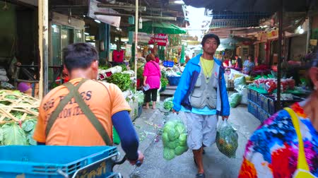 rolník : BANGKOK, THAILAND - APRIL 23, 2019: The shady alleyway of Wang Burapha Phirom agricultural market with stalls, selling cut flowers and other farmer goods, on April 23 in Bangkok Dostupné videozáznamy