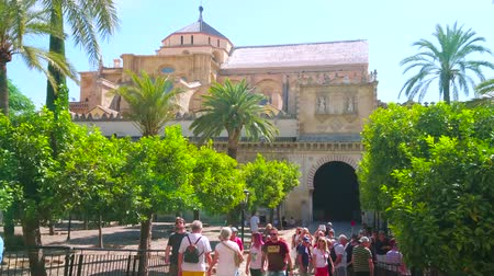 kolumna : CORDOBA, SPAIN - SEPTEMBER 30, 2019: The crowded range Tree Courtyard (Patio de los Naranjos) of Mezquita-Catedral with a view on Gate of Palms and main building, on September 30 in Cordoba