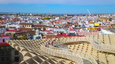 Андалусия : SEVILLE, SPAIN - OCTOBER 1, 2019: Panorama from the Metropol Parasol (Las setas de la Encarnacion) upper terrace, observing Casco Antiguo district of old town, on October 1 in Seville Стоковые видеозаписи