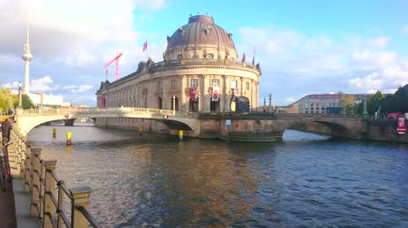 pitka : BERLIN, GERMANY - OCTOBER 3, 2019: The outstanding Bode Museum building is located on Museum Island and rises above the Spree river, on October 3 in Berlin