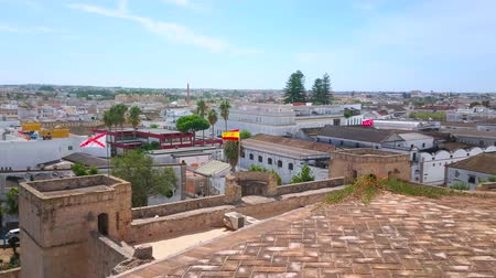 fabryka : SANLUCAR, SPAIN - SEPTEMBER 22, 2019: The top city view from tower of Santiago Castle, observing tile roofs of sherry wineries and living quarters, on September 22 in Sanlucar
