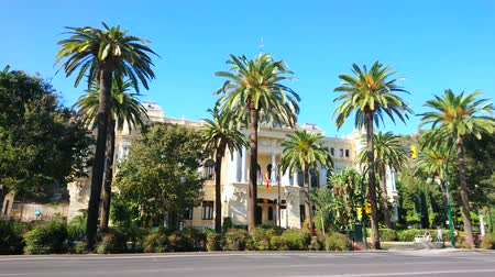 zegar : MALAGA, SPAIN - SEPTEMBER 26, 2019: Panorama of Cervantes avenue with building of Town Hall, hidden behind the lush palm garden, on September 26 Malaga