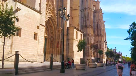 andalucia : SEVILLE, SPAIN - OCTOBER 2, 2019: The busy pedestrian movement through the Constitution Avenue with a view on ornate Gothic Seville Cathedral, on October 2 in Seville Stock Footage