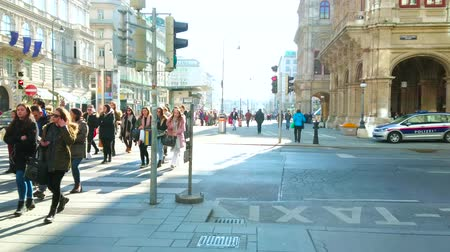 semt : VIENNA, AUSTRIA - FEBRUARY 19, 2019: The crowd of people, walking the crosswalk in Karntner Strasse, lined with historic edifices and Opera House, on February 19 in Vienna Stok Video