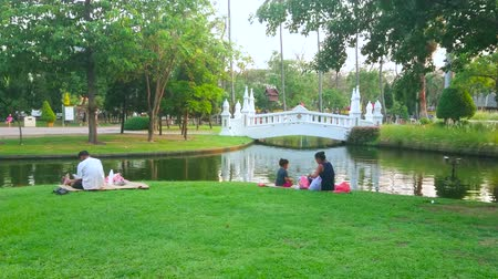 жесткий : CHIANG MAI, THAILAND - MAY 4, 2019: People enjoy the picnics and relax on the bank of the pond in scenic green Buak Hard Park, on May 4 in Chiang Mai Стоковые видеозаписи