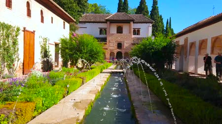 орошение : GRANADA, SPAIN - SEPTEMBER 25, 2019: The topiary garden in Patio of Irrigation Ditch of Generalife (Alhambra) with fountains and medieval irrigation channel, on September 25 in Granada Стоковые видеозаписи