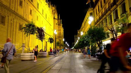 iberian : SEVILLE, SPAIN - OCTOBER 1, 2019: Tourists walk in evening Constitution avenue with Gothic Cathedral, illuminated edifices, cafes, stores and riding modern tram, on October 1 in Seville Stock Footage