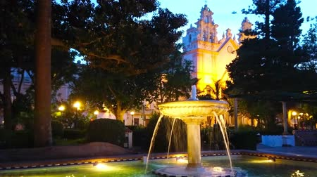 The evening in Alameda Marques de Comillas garden with a view on vintage stone fountain and illuminated Carmen Church on background, Cadiz, Spain Stock Footage