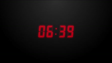 секунды : Countdown of 10 seconds. Digital clock red numbers on black background.