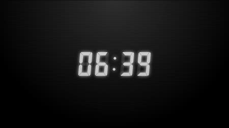 zamanlayıcı : Countdown of 10 seconds. Digital clock white numbers on black background. Stok Video
