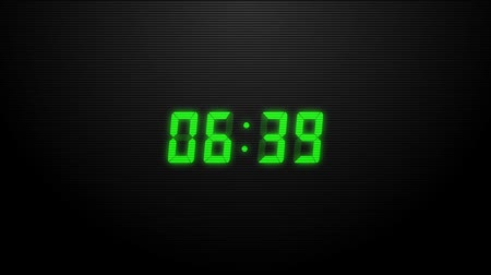 секунды : Countdown of 10 seconds. Digital clock green numbers on black background.
