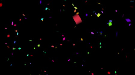Falling down colorful confetti on black background. Digital particle animation. Stock Footage