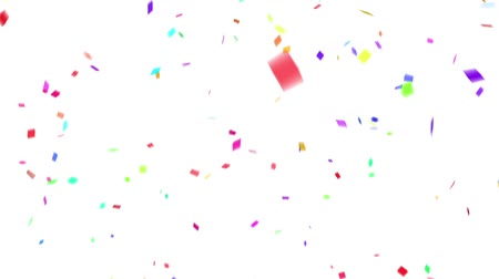 Falling down colorful confetti on white background. Digital particle animation.