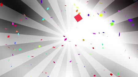 Falling down colorful confetti on silver radial background. Digital particle animation. Stock Footage