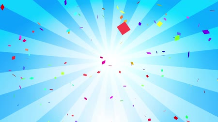 Falling down colorful confetti on blue radial background. Digital particle animation. Stock Footage