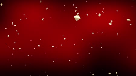 Falling down gold confetti on red background. Digital particle animation.