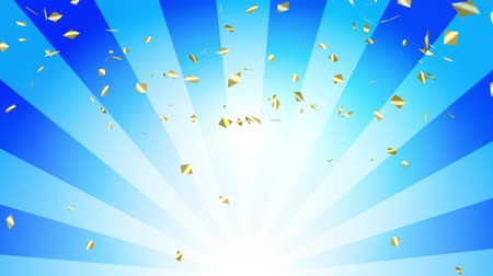 Falling down gold confetti on blue radial background. Digital particle animation. Stock Footage