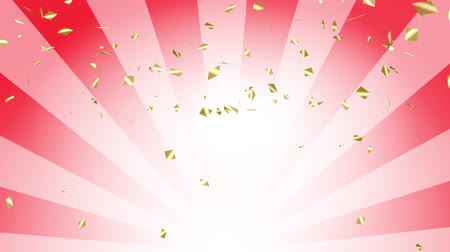 Falling down gold confetti on red radial background. Digital particle animation. Stock Footage
